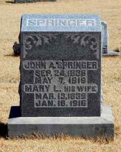 Tombstone, John A. and Mary L. Springer, photo courtesy of Allen Helderman, 20 March 2015, FindAGrave.com.